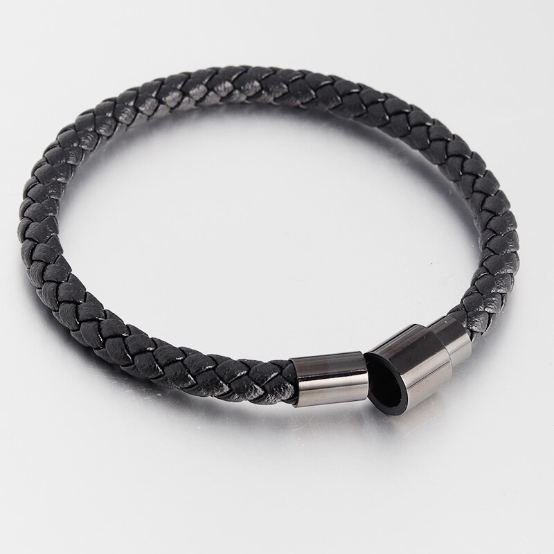 Sporty Style Geometric Stainless Steel Magnetic Clasps Genuine Leather Bracelet For Men Women Hand Jewelry Birthday Gift