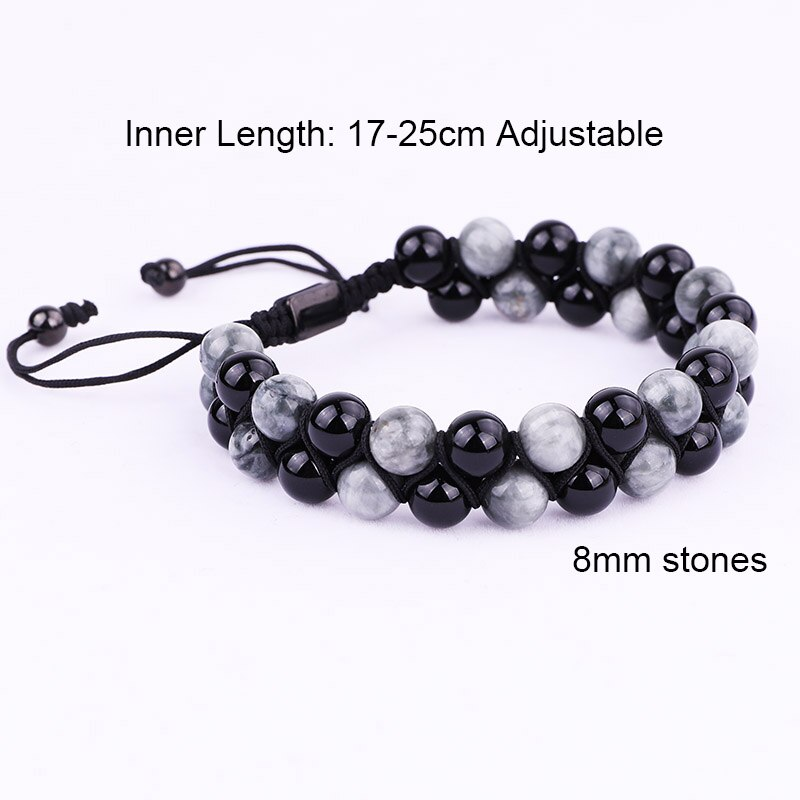 New Fashion Men Jewelry Bracelet Natural Black Onyx And Eagle Stone Braided Custom Bracelet For Men