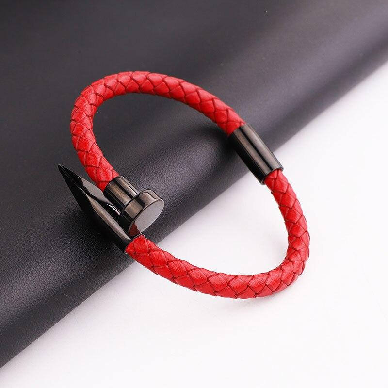 High Quality Men Bracelet 316L Stainless Steel Genuine Leather Cuff Bracelet Men Women