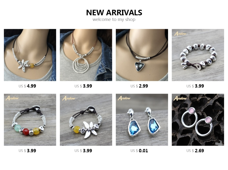 Anslow New Arrivals Vintage Handmade DIY Antique Silver Plated Leather Bracelet For Women Couple Christmas Gift LOW0659LB