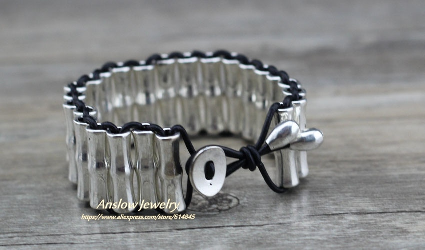 Anslow Brand Punk Rock Style Retro Vintage Exaggeratted Women Men Healthy Alloy Leather Bracelet For Men Women Unisex LOW0693LB