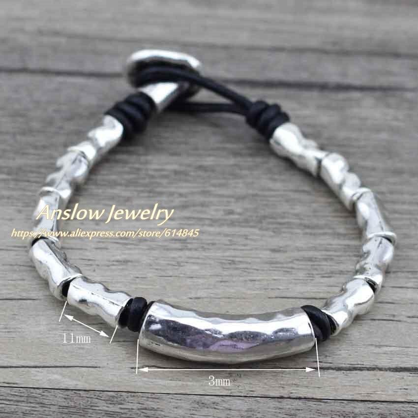 Anslow 1 pcs Wholesale New Items Handmade DIY Sweet Vinatge Retro Leather Bracelets For Women Men Gift  LOW0389LB