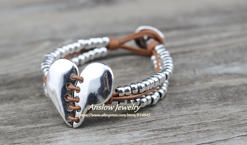 Anslow Top Quality Fashion Jewelry Accessories Vintage Heart Beads Bracelet For Women Lady Birthday Party Gift  LOW0745LB
