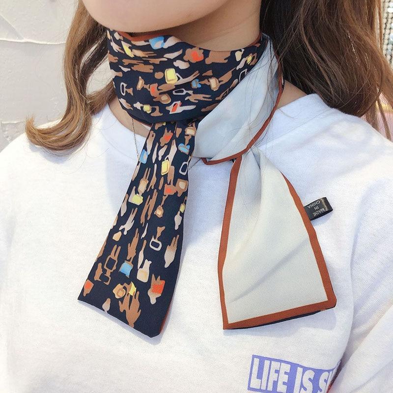 Elegant Floral Silk Long Scarf Hair Tie Band Small Women Neckerchief Head