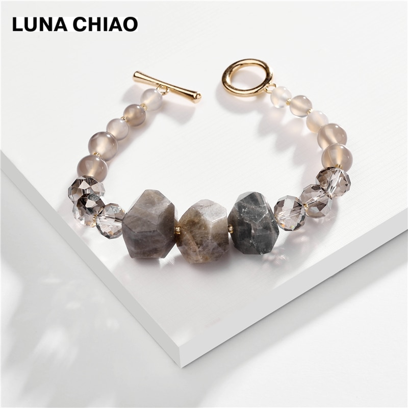 LUNA CHIAO Fashion jewelry Natural Stone Beaded Bracelet Elastic Stretchable Strand Bracelets for Women