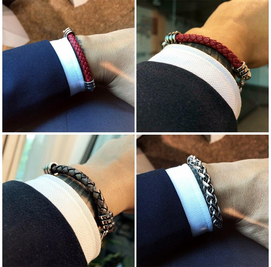 Mcllroy Men bracelet/leather/stainless steel chain/jewelery/bracelets bangles retro men jewelry 2019 gift for man erkek bileklik