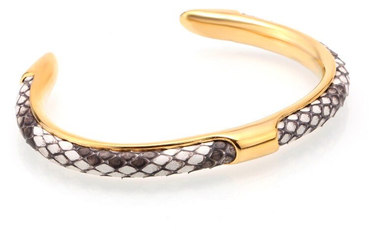 Mcllroy 316L Stainless Steel Opening Gold Bangle Pave CZ Python Skin Leather Cuff Bracelets Bangles Men Women Handmade Jewelry