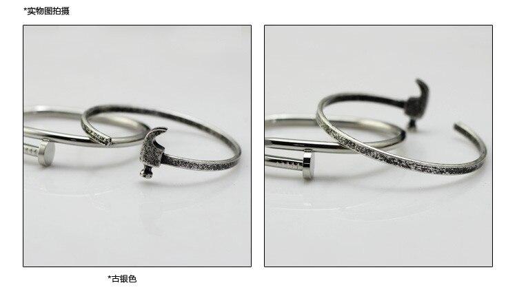 Mcllroy Original popular retro titanium steel shapes for men women lovers iron hammer bangle bracelet Men's Bangle.Gift,Party
