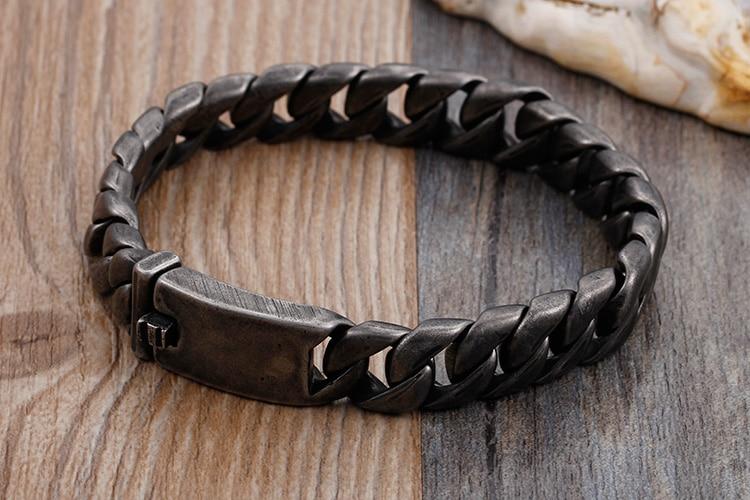 TrustyLan Punk Rock Black Stainless Steel Men Bracelet 13/20/25MM Chain Link Bracelets & Bangles Armband Jewelry Pulseras Hombre