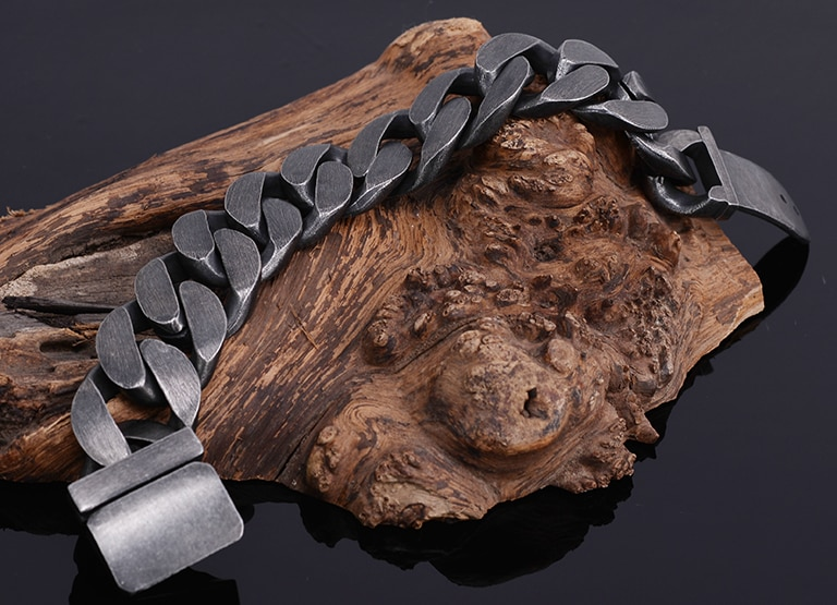 Masculine Heavy Bracelet Men Ancient Black Stainless Steel Mens Bracelets With Belt Buckle His Metal Manly Wrist Dropshipping