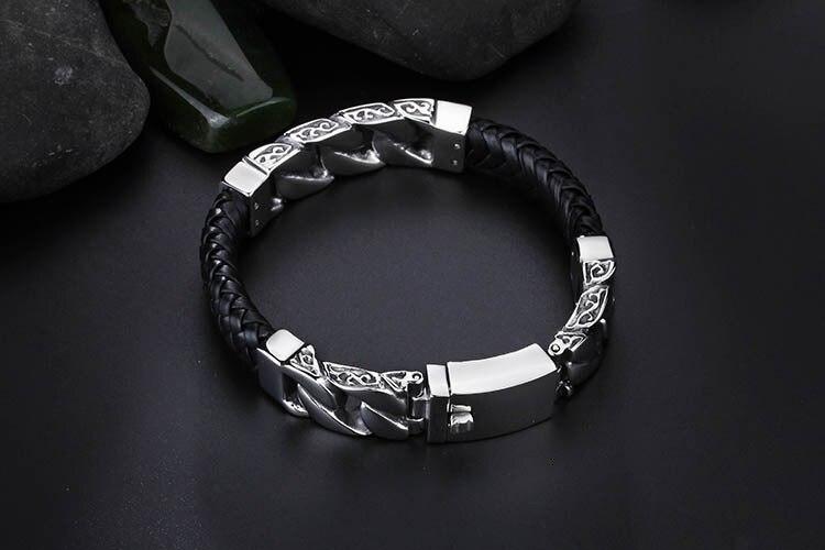 TrustyLan Hot Brand Men's Bracelets Weaved Leather Never Fade Stainless Steel Wrap Bracelet Men Fashion Jewelry Pulseras Hombre