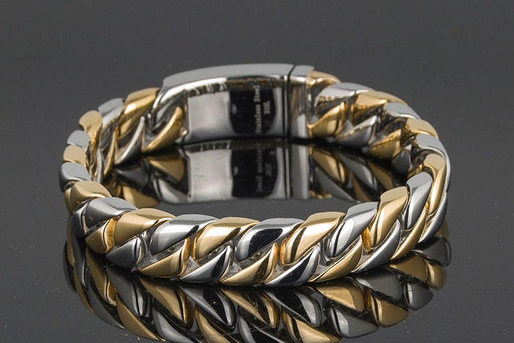 Luxury Gold Color Bracelet Men Friendship Mens Bracelets Bangles Metal Stainless Steel On Hand Jewelry Gifts For Boyfriend Him