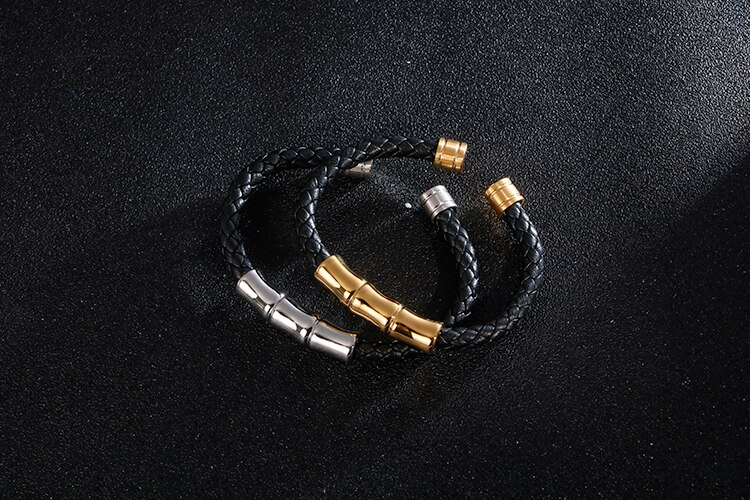Bamboo Style Open Bangle For Men Polished Luxury Golden Stainless Steel Mens Cuff Bracelets Jewelry Gifts For Him Husband