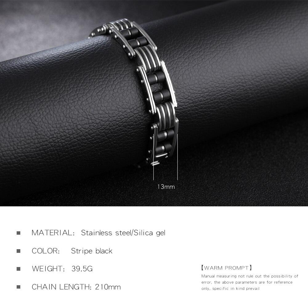 TrustyLan Aliexpress Cool Punk Rock Black Man Bracelet Homme High Quality Stainless Steel Men Jewelry Wholesale Dropshipping