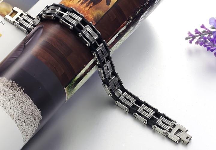 TrustyLan Accessory Bracelet Men Punk Black Silicone Mens Bracelets Bangles 2018 Bracciali Uomo Link Chain Bracelets For Women