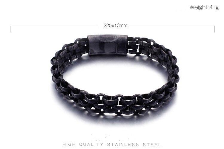 TrustyLan Stainless Steel Men's Chain Bracelet Black Man Jewelry 13MM Armbanden Erkek Bileklik Friendship Man's Bracelet Homme