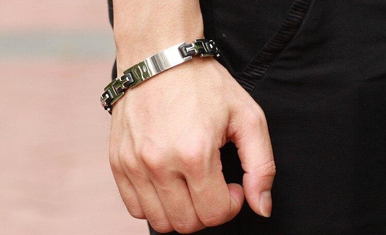 TrustyLan Cross Mens Bracelets Bangles Stainless Steel Black Silicone Man Bracelet Male Gift Men's ID Bracelets Male Jewelry
