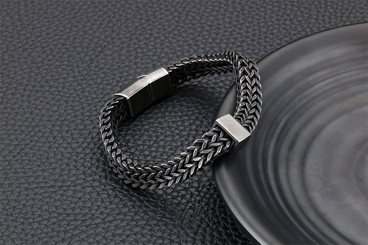 Retro Black Stainless Steel Chain Bracelet Bangles For Men Male Jewelry Accessories Mens Armband Bracelets His Boyfriend Gift