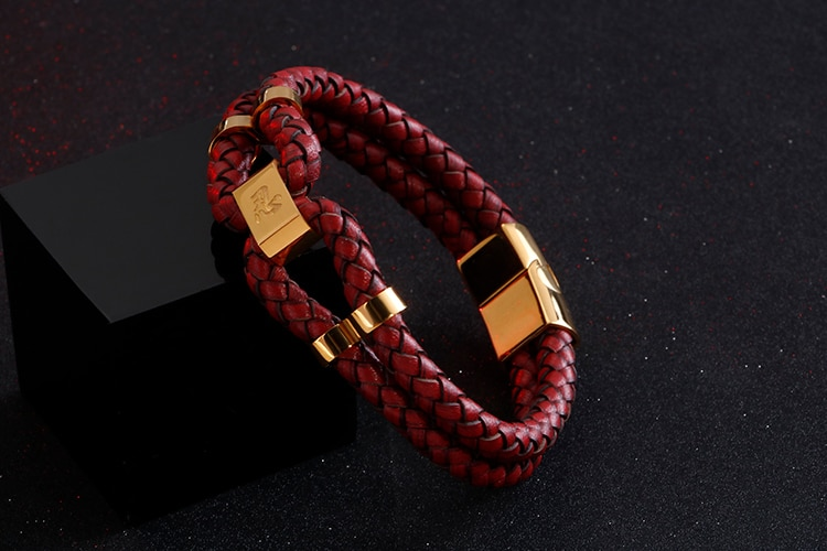 Wrap Leather Bracelet Mens Jewellery Chinese Character REN Engraved Stainless Steel Bracelets Bangles Red Cowhide Wristband