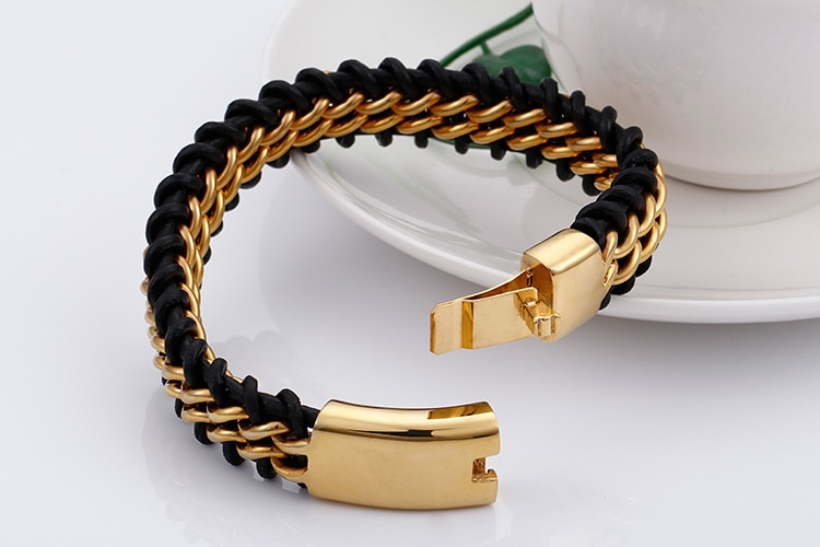 TrustyLan Gold Color Stainless Steel Leather Bracelet Men 18MM Wide Mens Leather Bracelets Jewelry Wristband Dropshipping Gift