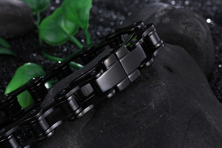 TrustyLan Aliexpress Men Jewelry Pure Black Stainless Steel Bracelets & Bangles Fashion Thick Bicycle Chain Bracelet Men's Gift