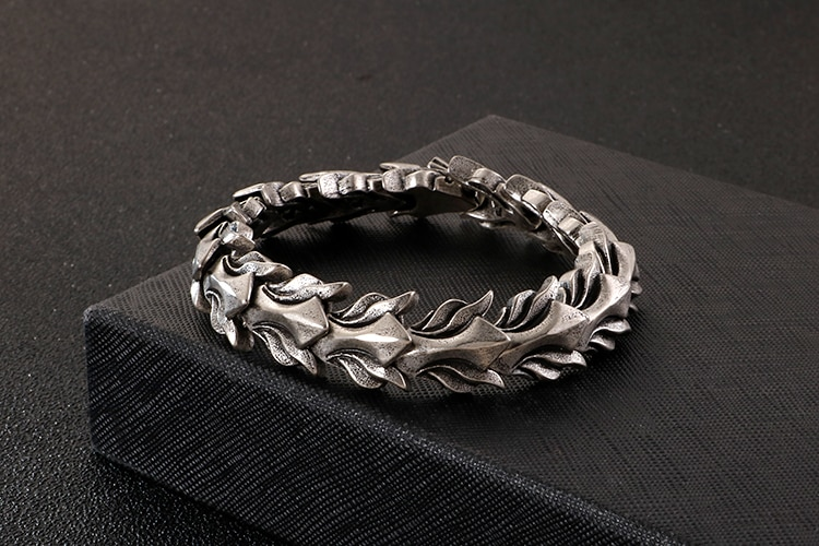 Old Silver Color Stainless Steel Men's Bracelet For Men 17MM Keel Chain Mens Bracelets Accessories 2020 Vintage Biker Jewelry