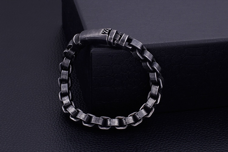 Solid Black Stainless Steel Men Bracelet Vintage Jewelry Big Size 10 Inches Chain Link Friendship Mens Bracelets & Bangles 2020