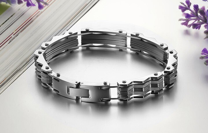 TrustyLan Cool 10MM Wide Mens Bracelets Bangles Solid Stainless Steel Brand Cuff Bracelet Men Designer Male Jewelry Wristband