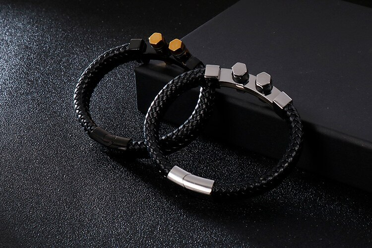 Braided Genuine Leather Bracelet Men Gold Black Stainless Steel Leather Bracelets For Man Wrap Bangles Male Jewelry Accessory