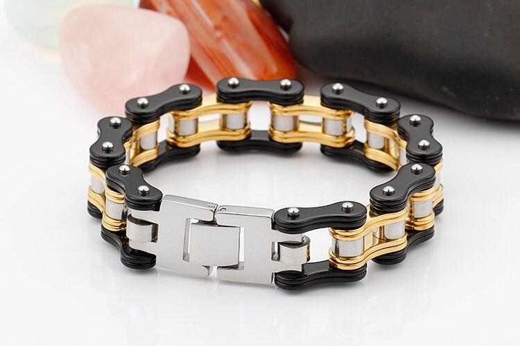 TrustyLan 316L Stainless Steel Mens Bracelets Gold Color Thick Biker Motorcycle Chain Bracelet For Men Punk Rock Male Jewelry
