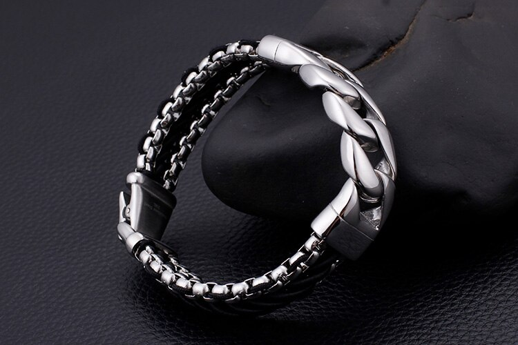 Polished Stainless Steel Chain Bracelet Men 15MM Wide Braided Leather Bangle Male Cool Biker Jewelry Accessory Dropship Gifts