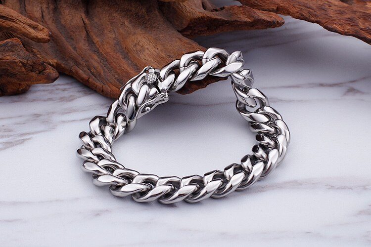 TrustyLan Thick Hand Chain Bracelet For Man Stainless Steel Biker Style Men's Jewelry Mens Bracelets 2018 Boyfriend Husband Gift