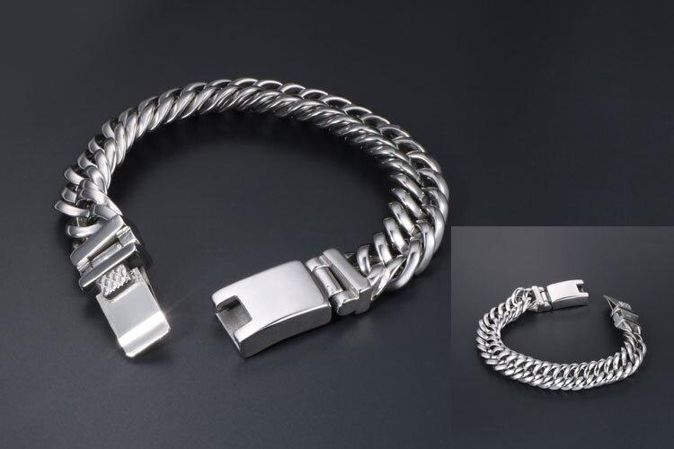 13MM Wide Polished 316L Stainless Steel Bracelet Men Curb Chain Link Mens Bracelets Heavy Massive Wrist Jewellery Gifts For Man
