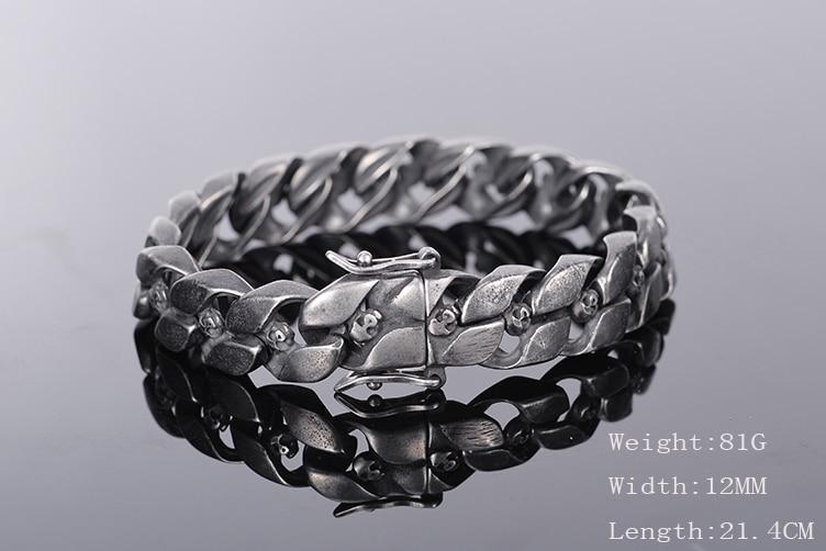 TrustyLan Plating Black Stainless Steel Mens Bracelet Punk Rocker & Hippe's Skull Bracelet Armband Gothic Halloween Accessories