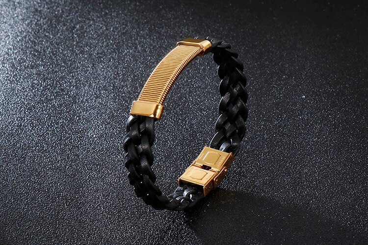 Vintage Jewelry Gold Color Stainless Steel Wristbands For Boys 13MM Wide Braided Leather Bracelets For Men Black Armband Bangles