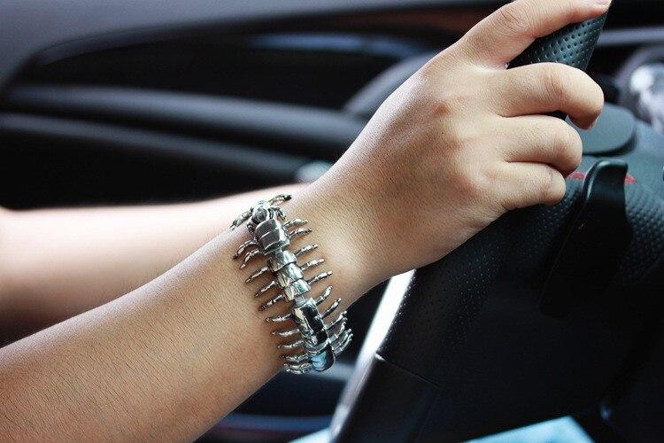 TrustyLan Charm Centipede Bracelet Fashion Biker Jewelry Accessory Punk Rock Stainless Steel Bracelets For Men Wrap Bangles 2018