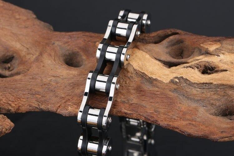 TrustyLan Aliexpress Stainless Steel Bicycle Chain Bracelet Men Black Silicone Mens Bracelets & Bangles Male Biker Jewelry