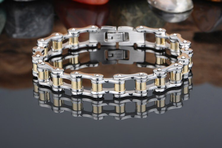 TrustyLan Fashion Charm Mens Bracelets Men Jewelry Gold Color Stainless Steel Motorcycle Bicycle Chain Link Mens Bracelets 2018
