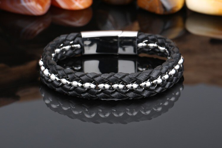 TrustyLan Stainless Steel Gold Color Mens Bracelets Bangles Cool Black Leather Knitted Magnetic Clasp Bracelet Men Jewelry Gifts