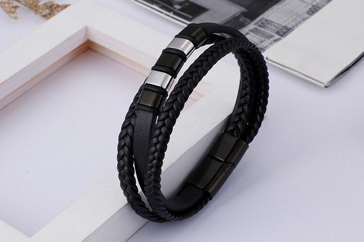 Vintage Braided Leather Bracelet Male Gold Color Stainless Steel Bracelets Bangles Wrap Bracelet Men Jewelry Gifts For Boys Him