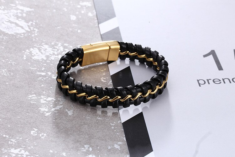 TrustyLan Fashion Gold Color Stainless Steel Bracelet Men Punk Rock Leather With Magnet Clasp Mens Bracelets Gifts For Him Man