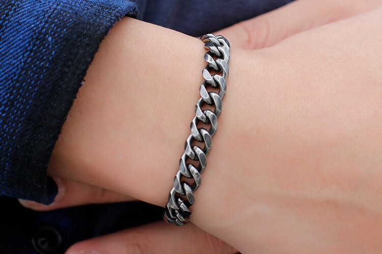 6/8/9/11MM Wide Vintage Black Chain Link Men's Bracelet For Men Jewelry Stainless Steel Mens Friendship Bracelets 2019 For Women