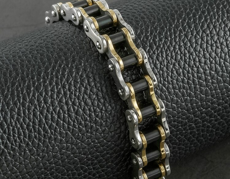 Masculine Men's Bike Chain Bracelet Men Jewelry Of Real 316L Stainless Steel 15MM Wide 8.86 Inches Bracelets Gifts For Motocross