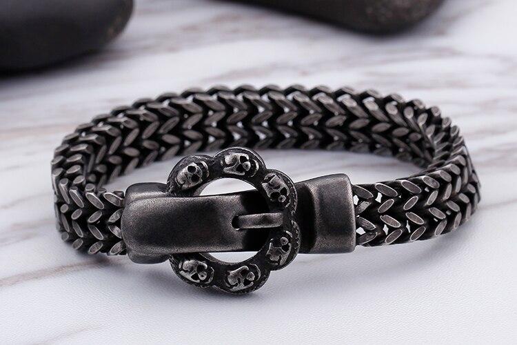 Punk Rock Skull Mens Bracelets Bangles With Belt Buckle Heavy Metal Black Stainless Steel Charm Man Bracelet Men Vintage Jewelry