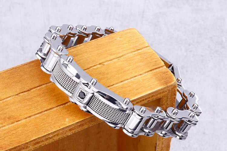 12MM Black Mens Bicycle Chain Bracelet Men Jewelry Polished Shiny And Heavy Stainless Steel Bracelets For Man Factory Wholesale