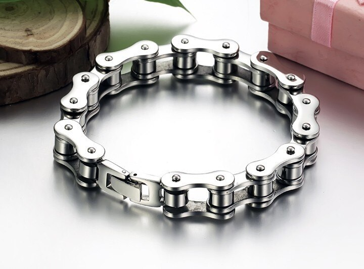 TrustyLan Sales Promotion 12MM Cool Stainless Steel Mens Arm Bracelets For Men Bike Bicycle Chain Bracelet Punk Rock Wristband