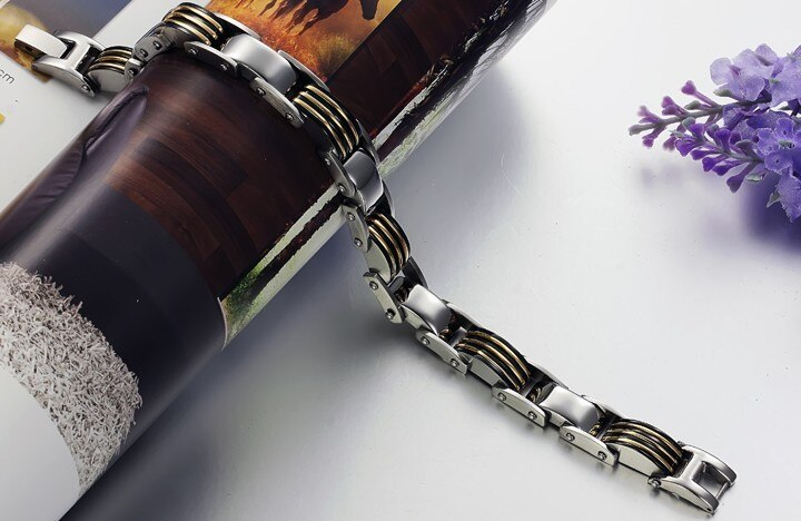 TrustyLan 10MM Golden Stainless Steel Men Bracelet 8.3 Inch Length Mens Bracelets Jewelry Gift Link Chain Male Wristband Armband