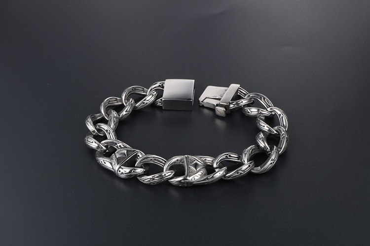 18MM Wide 316L Stainless Steel Chunky Curb Chain Bracelet Mens Boys Vintage 9 Inch Bracelet Men Gothic Cool Rock N' Roll Jewelry