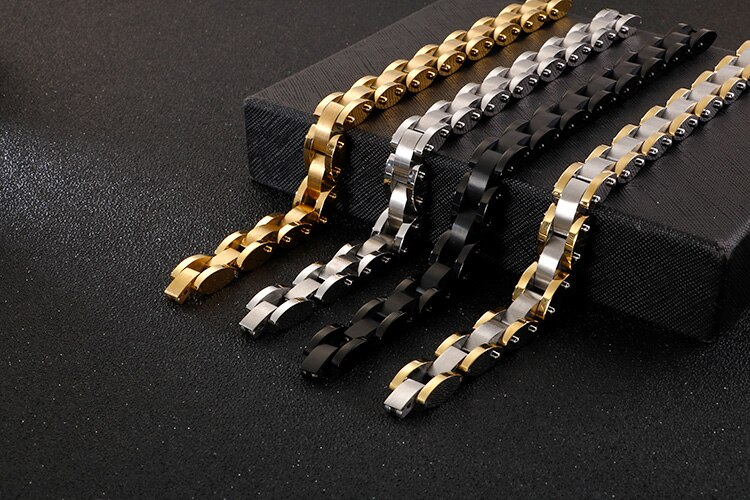 Black Gold Color Bracelet Men High Polished Stainless Steel Wristbands Classic Jewelry Male 11MM Wide 20CM Long Armband Friends