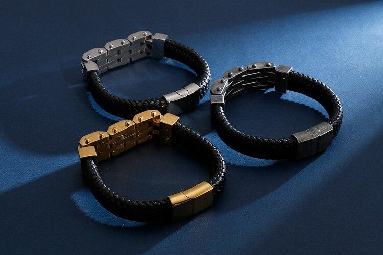 Vintage Handmade Men's Leather Bracelet For Men Stainless Steel Mens Bracelets 2020 Biker Jewelry Free Logo Name Engrave Make